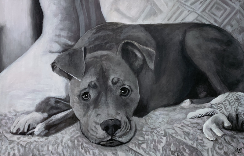 black and white pastel painting of dog