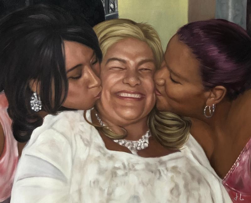 Custom handmade oil painting of three adults