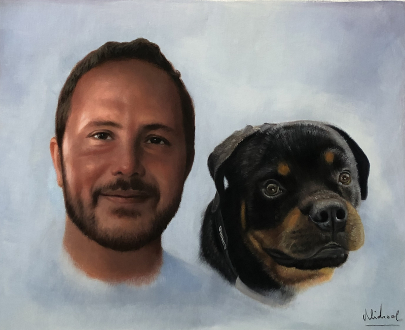 Custom oil painting of an adult with a dog