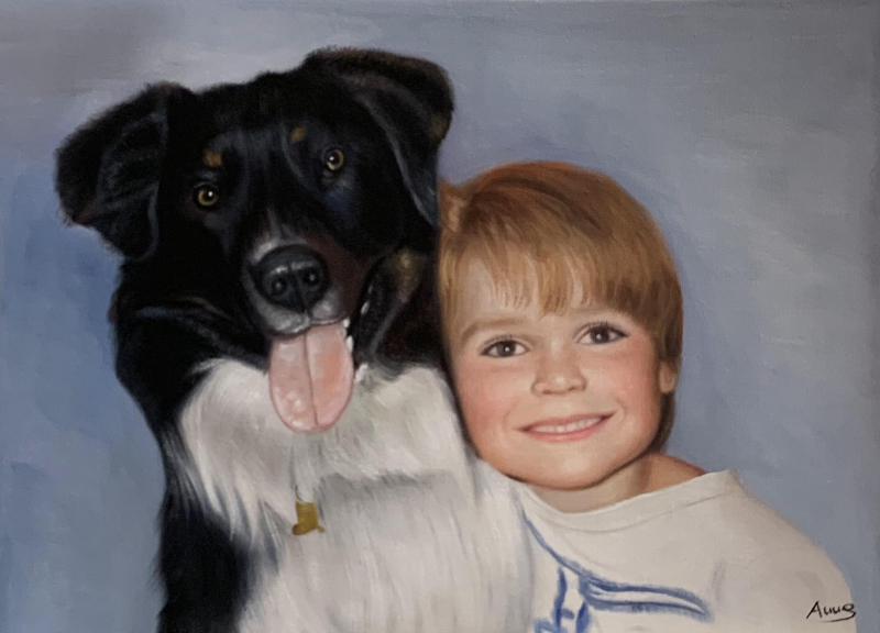 Gorgeous oil painting of a little boy with a dog