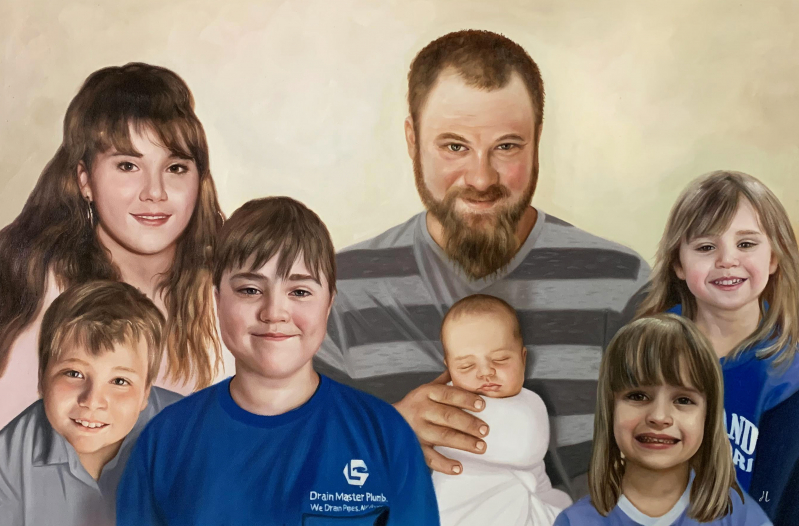 Gorgeous oil painting of a happy family
