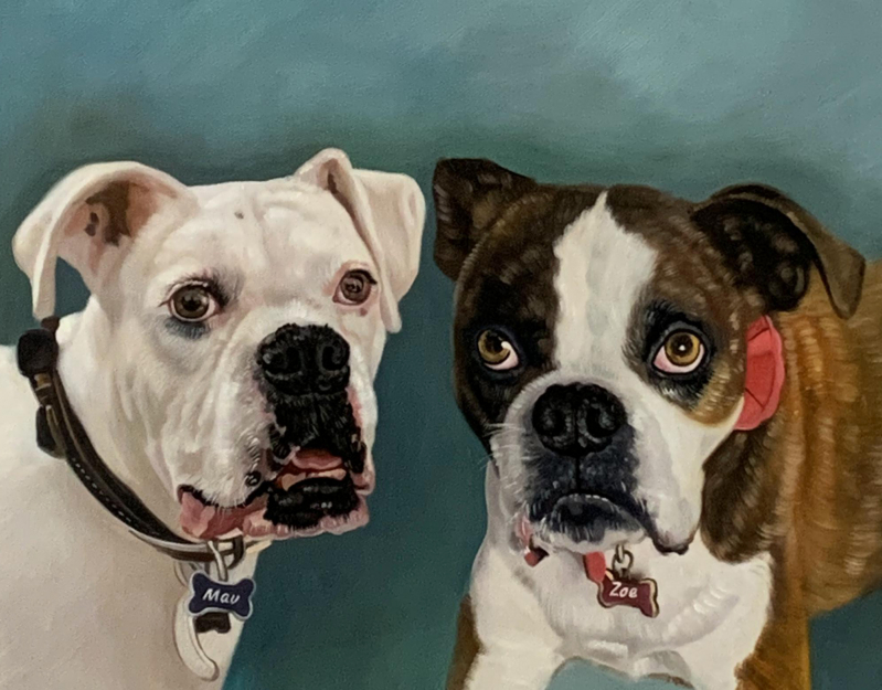 Custom oil painting of two dogs with a solid background