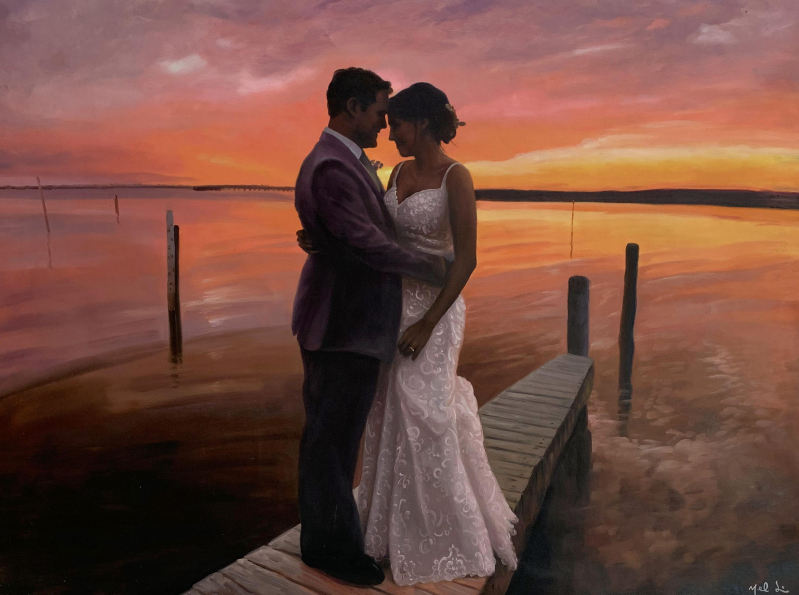 Gorgeous oil artwork of a bride and a groom
