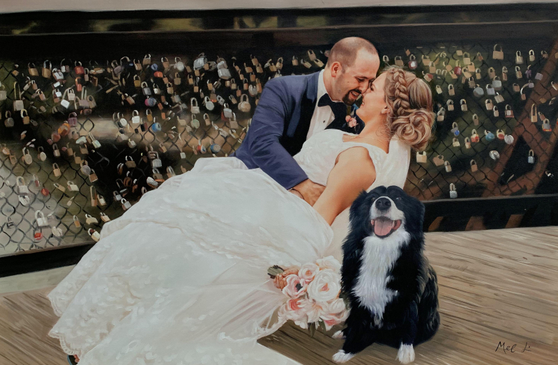 Beautiful oil painting of a just married couple with a dog