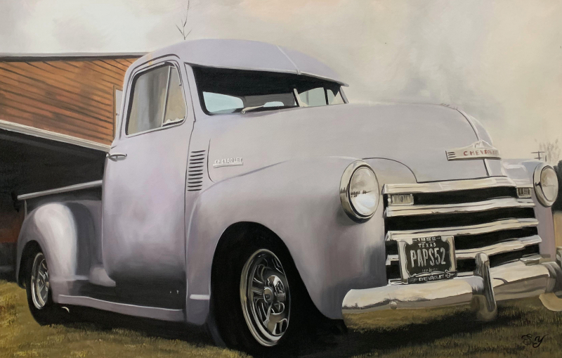 Oil painting of a car made from the old photograph