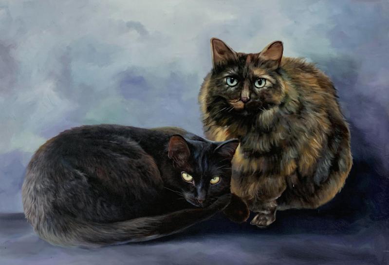 Custom oil artwork of two cats