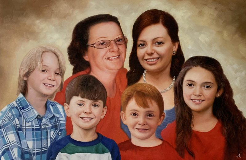 Gorgeous oil painting of a family