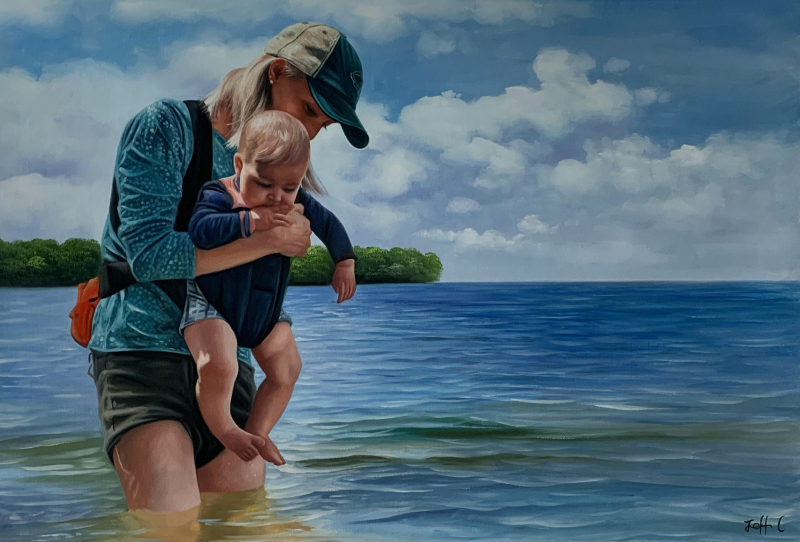 Beautiful oil painting of a mother and child