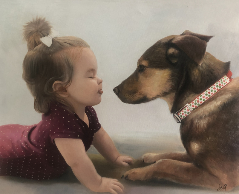 Beautiful oil painting of a baby girl with dog