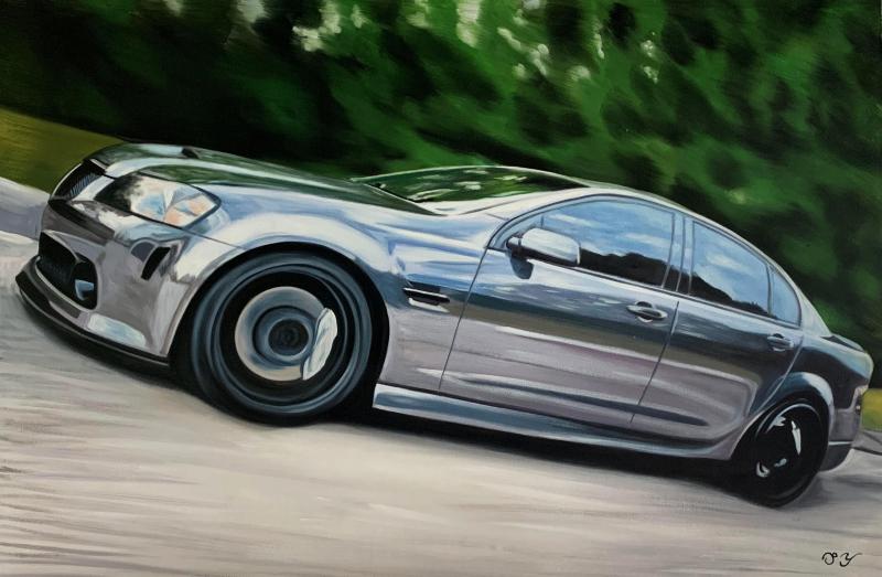 Custom handmade painting of a car
