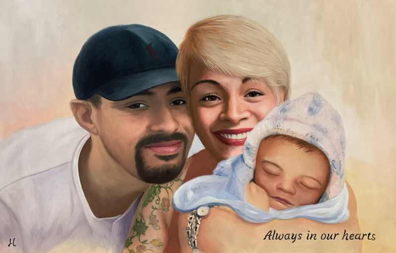 Beautiful hand drawn oil painting of a family