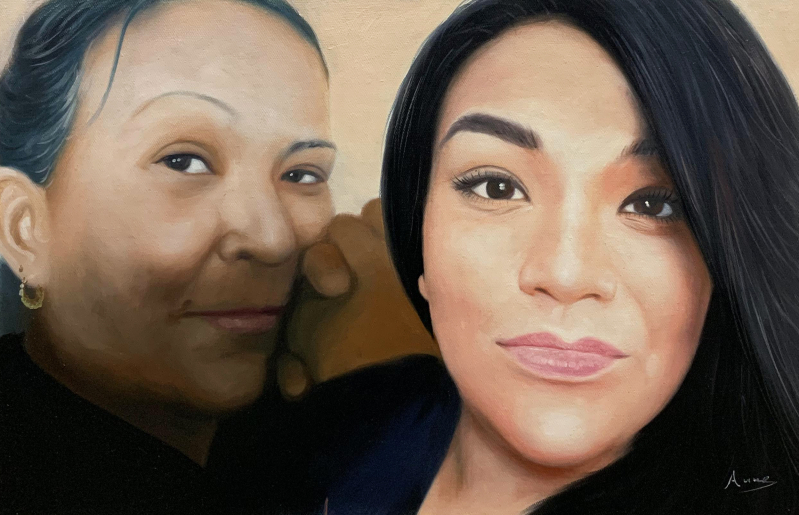 Beautiful acrylic painting of a mother and a daughter
