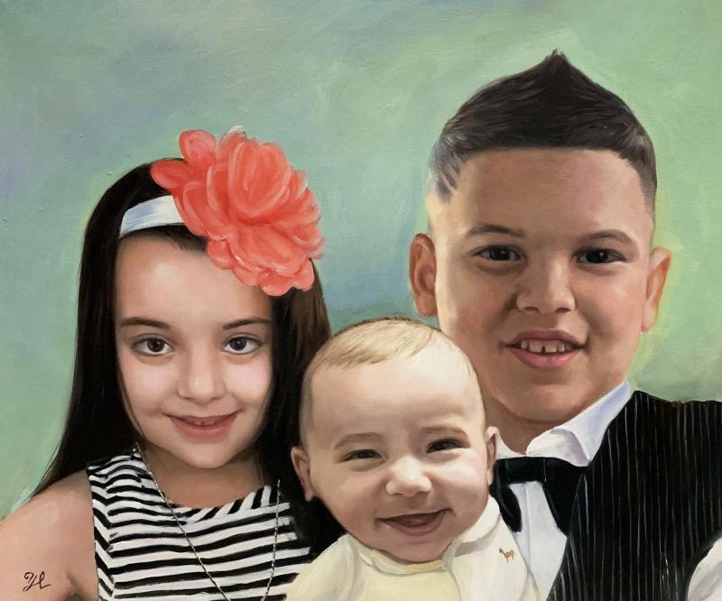 Stunning handmade oil artwork of children