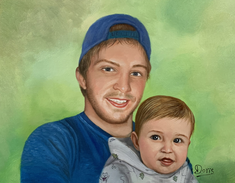 Custom oil painting of a father and a child