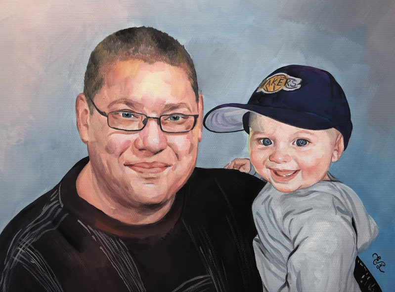 Beautiful pastel artwork of a father and a son