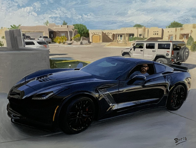 Custom handmade oil painting of a car