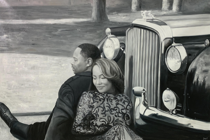 Beautiful oil artwork of a happy couple