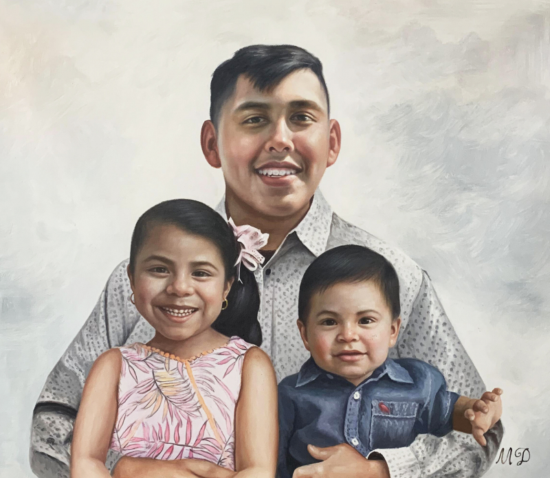 Beautiful oil painting of a father with two children