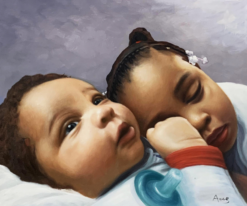 Gorgeous oil painting of  sleeping children