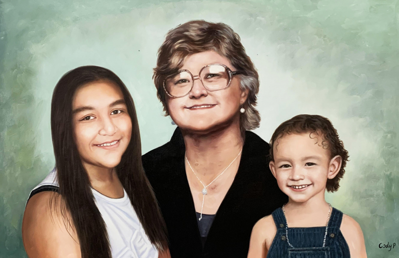 Beautiful oil painting of a grandmother and grand kids