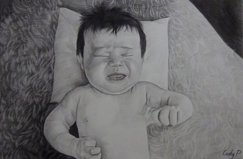 Gorgeous charcoal painting of a crying baby