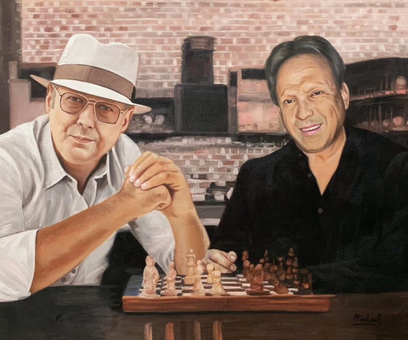 Personalized handmade oil painting of two men