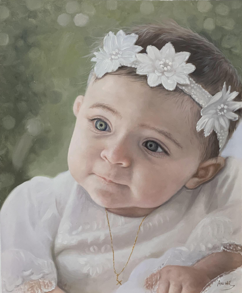 Gorgeous oil artwork of a baby with a headband