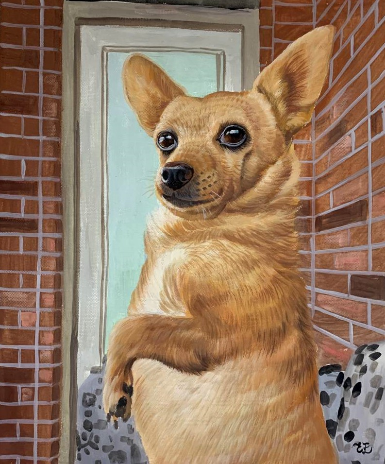 Beautiful pastel painting of a dog
