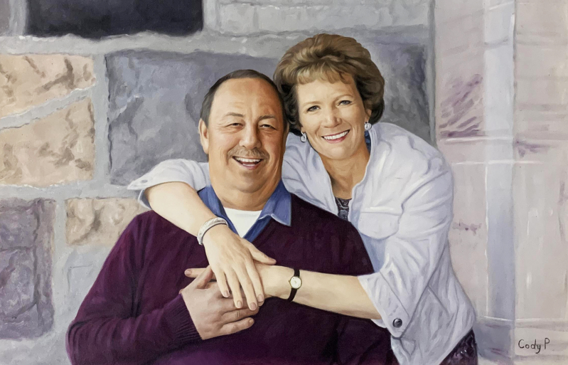 Custom oil painting of a happy couple
