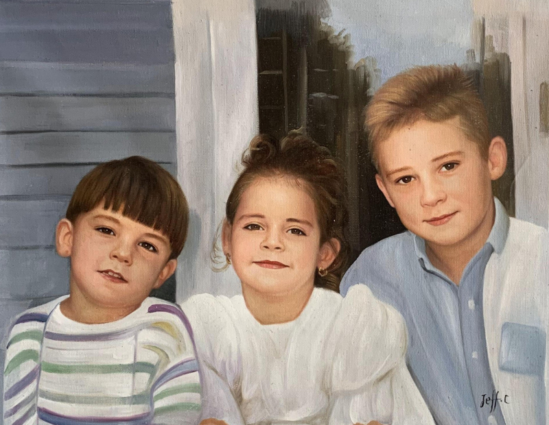 Beautiful handmade oil painting of three kids
