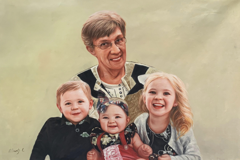 Custom oil painting of a grandmother and grandchildren