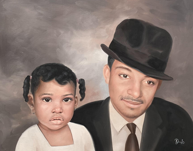 Beautiful oil artwork of a father and daughter