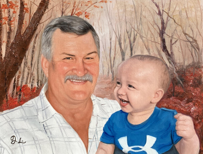 Beautiful handmade oil portrait of a grandfather and a kid