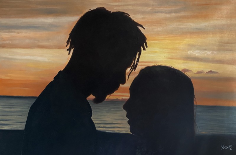 Beautiful oil painting of a loving couple by sunset