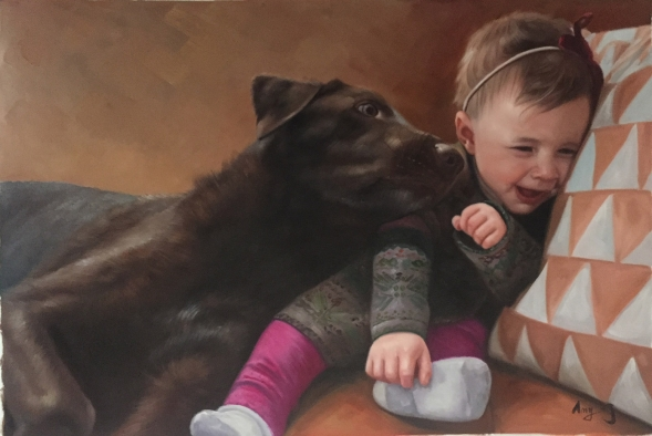 Handmade oil painting of a little girl and brown dog