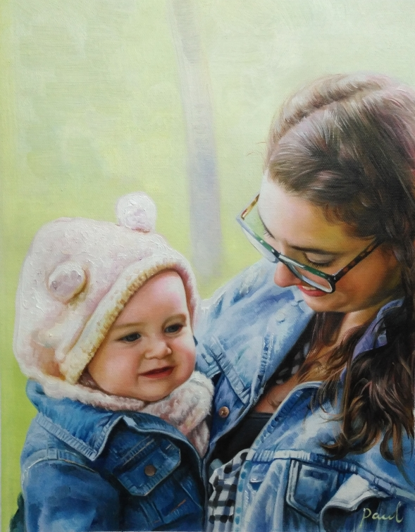 an oil painting of mother and a child together