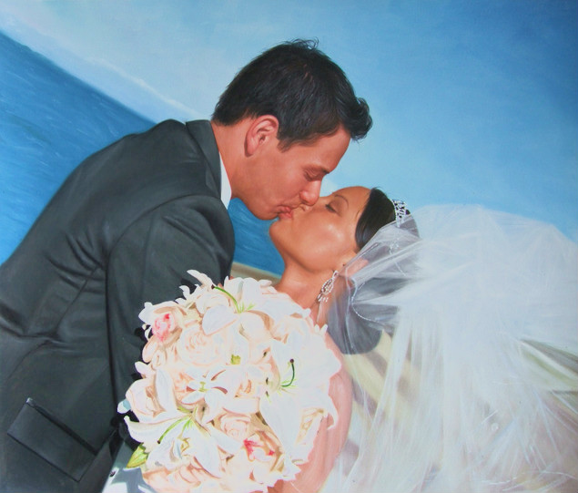 photo to oil painting of a wedding - photo gift for annivers