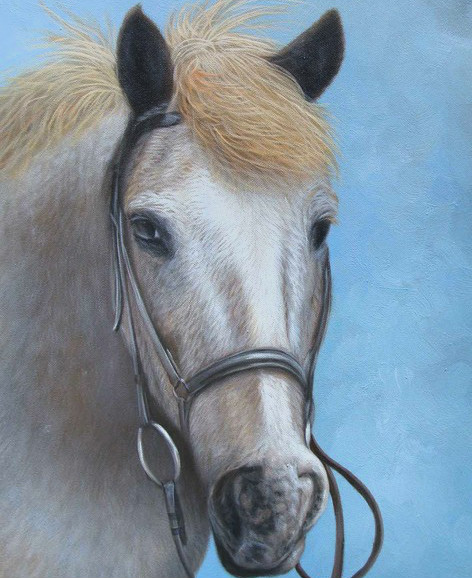 realistic oil portrait of a horse