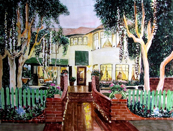 custom watercolor painting house at sunset with fences