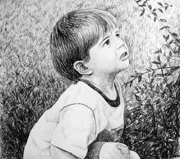 photo of a child as charcoal drawing