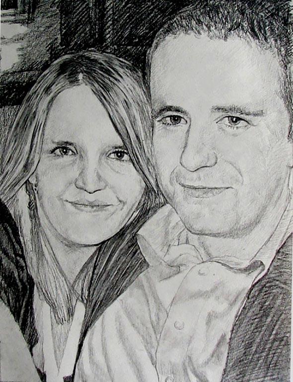 couple photo as pencil portrait
