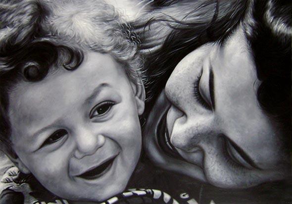 Gemälde einer Mutter mit Kleinkind