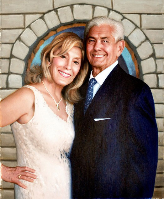 custom oil portrait of happy couple woman in dress