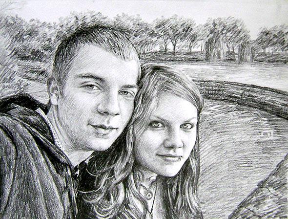 Bleistiftzeichnung von Freunden