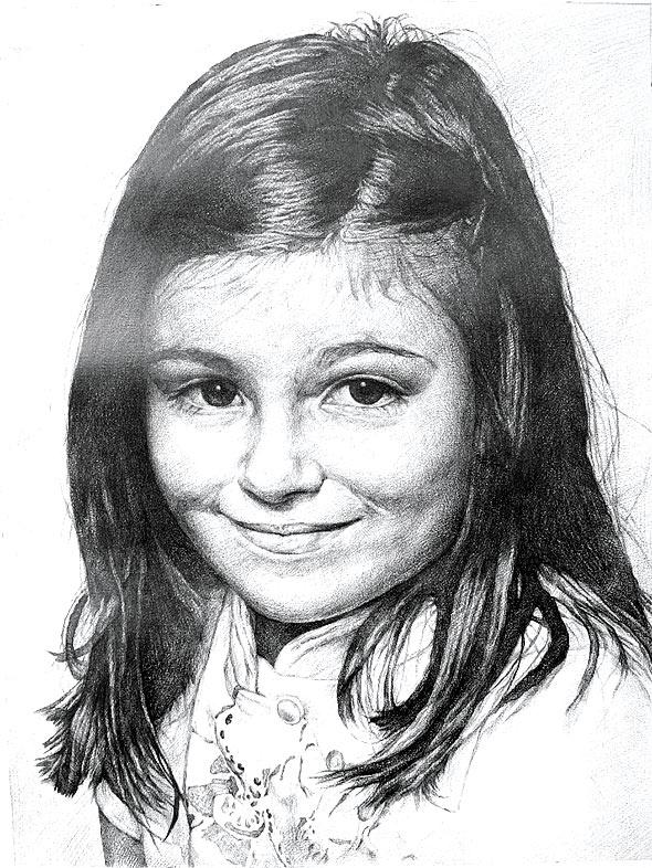 Bleistiftzeichnung von einem jungen Mädchen