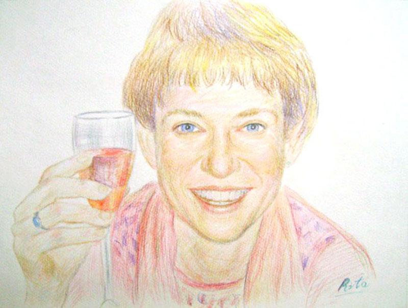 Portrait individuel au crayon couleur