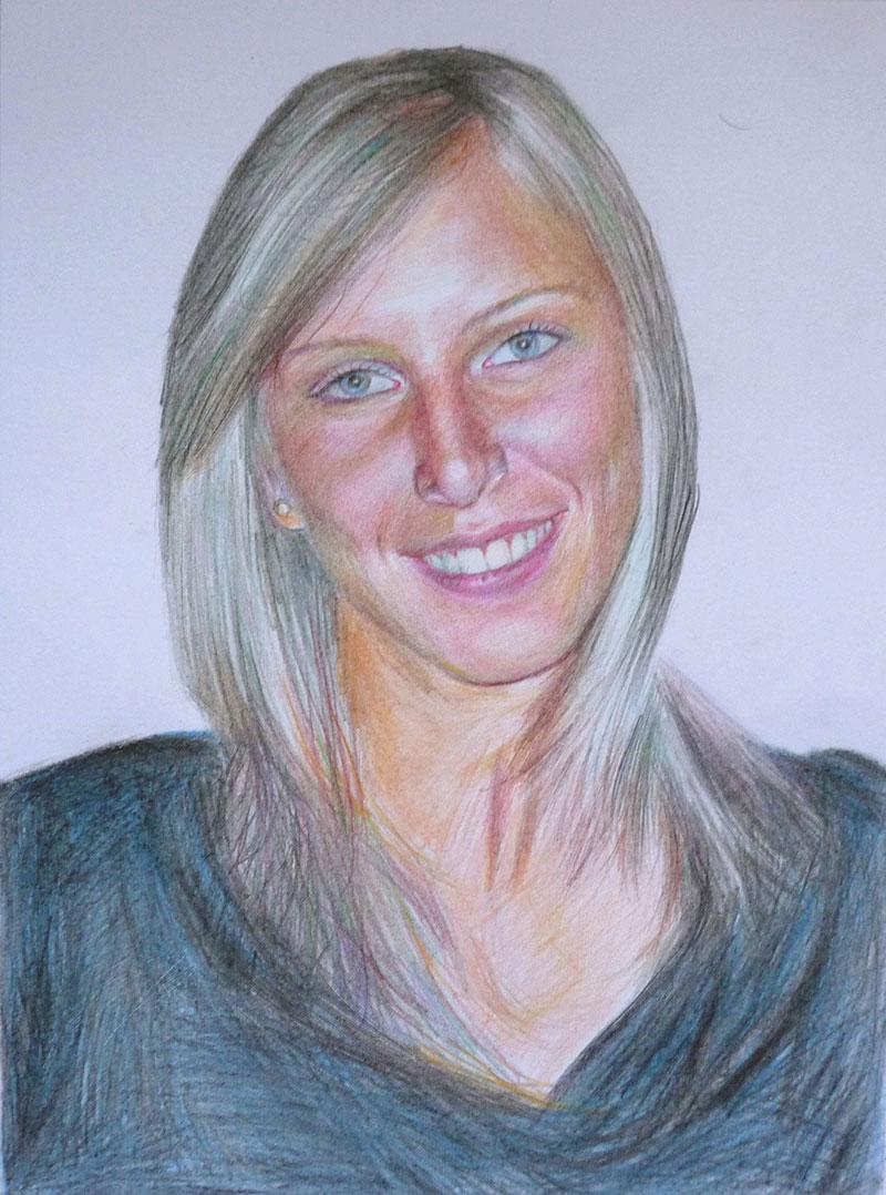 foto di una donna come matita di colore