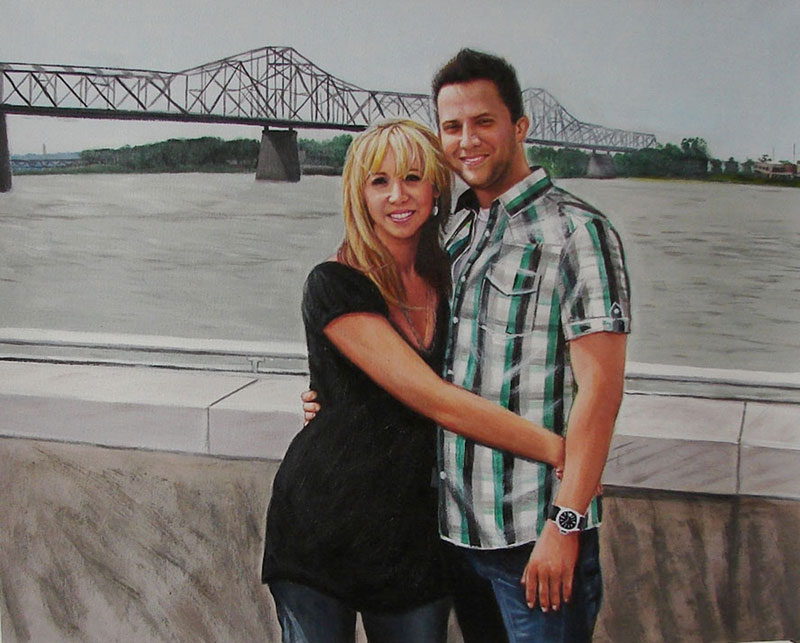 custom acrylic painting of couple by the bridge