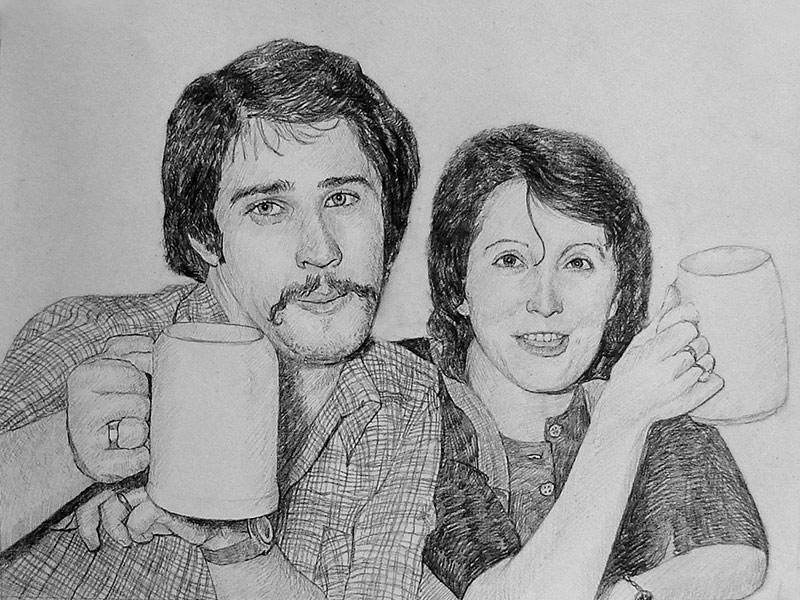 Peinture couple réalisée au crayon noir