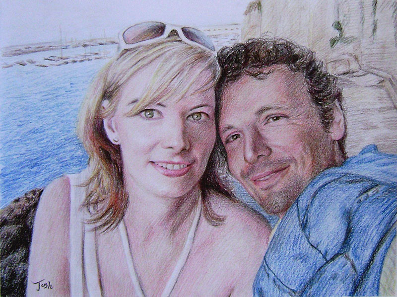 disegno a matita di colore di una foto